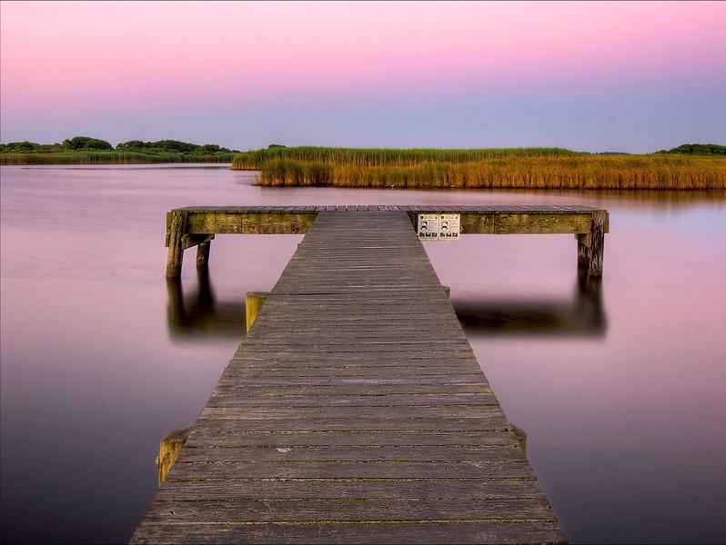 Crabbing dock at sunrise. Long Pond, Madaket, Nantucket MA