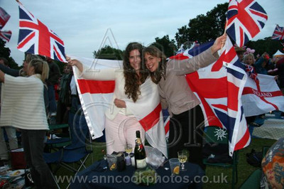 Two girls with flags 9306
