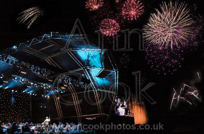 Fireworks and stage