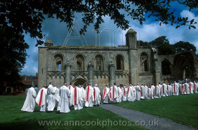 Priests in the Abbey grounds