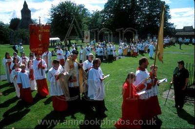 Pilgrims entering Abbey grounds