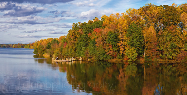 Dock on Lake Luxembourg in Autumn