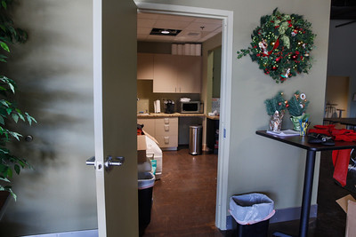 side view of kitchen.  The coffee shop is on the right side,