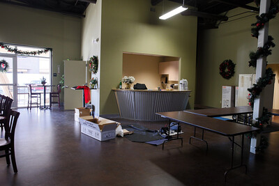Far view of the coffee shop kitchen