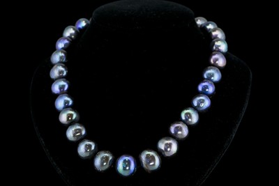 """12-15MM TAHITIAN BLACK PEARL NECKLACE 18"""""""