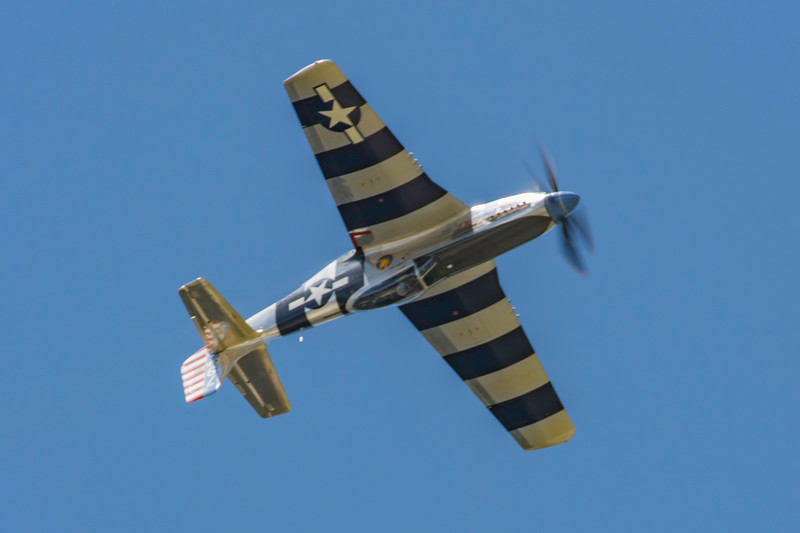 """The P-51 Mustang """"Fragile but Agile"""" in a high speed solo inverted pass at the 2017 Vectren Dayton Air Show."""
