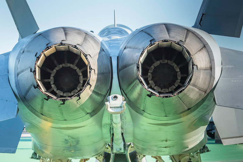 Looking at the business end of the US Navy F/A-18 Super Hornet fighter.