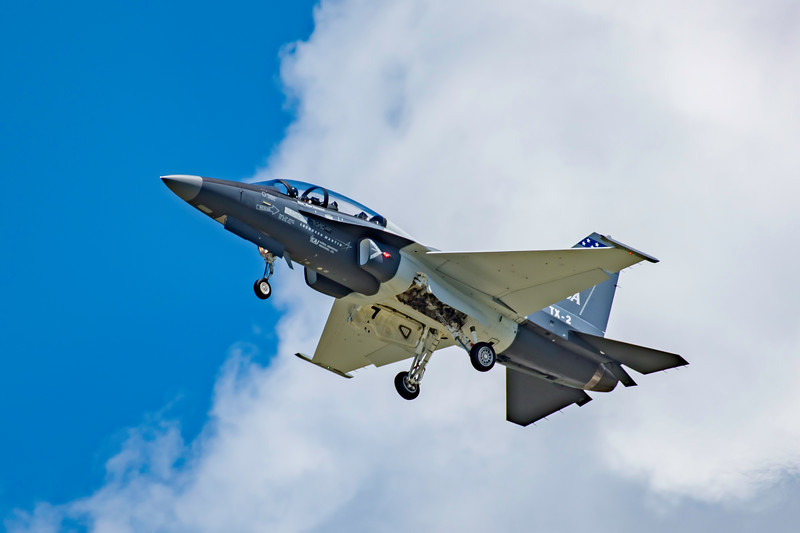 One of the US Air Force's newest training jets, the Lockheed Martin T-50A demonstrates it slow flight capabilities at the 2017 Vectren Dayton Air Show.