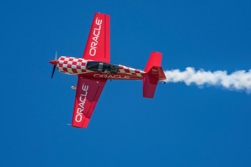 Team Oracle pilot John DeGennaro thrills the crowd at the 2017 Vectren Dayton Air Show.