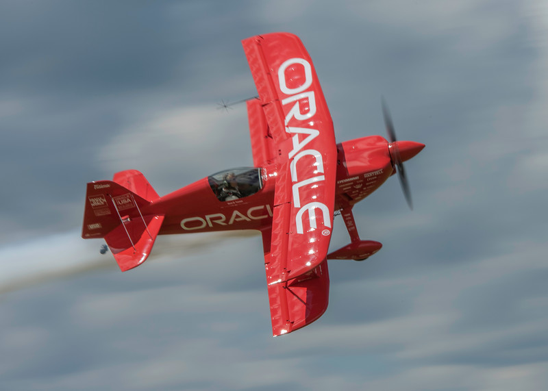 Sean D Tucker setting up for a high speed vertical climb as he thrills the crowd at the 2017 Vectren Dayton Air Show.