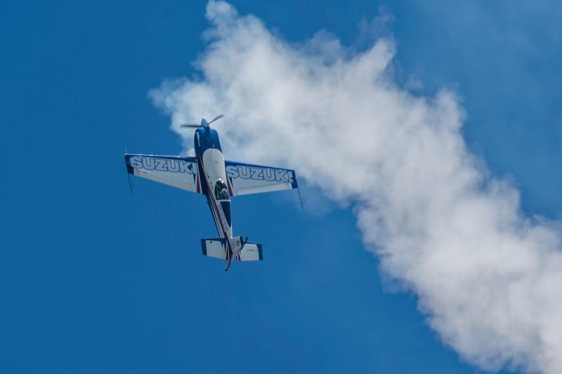 Bob Freeman, a veteran aerobatic pilot, stalls his aircraft as he prepares to make and inverted rollat the 2017 Vectren Dayton Air Show.