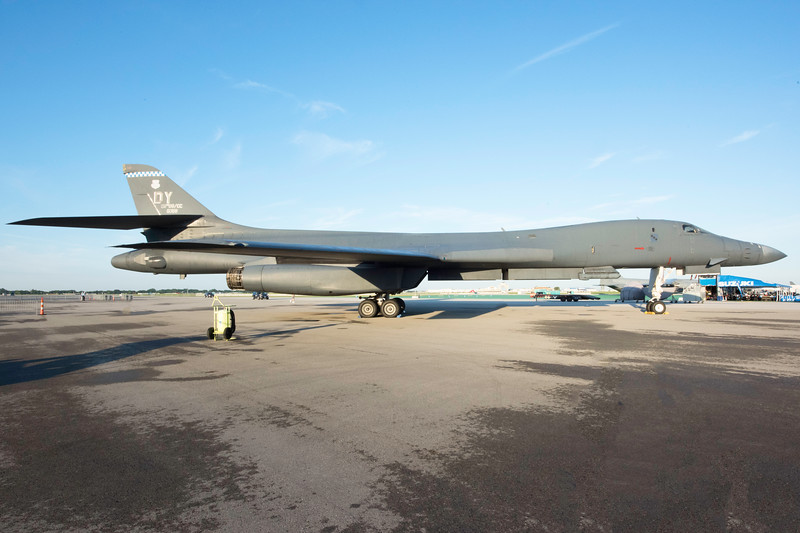 The B-1B supersonic bomber on display