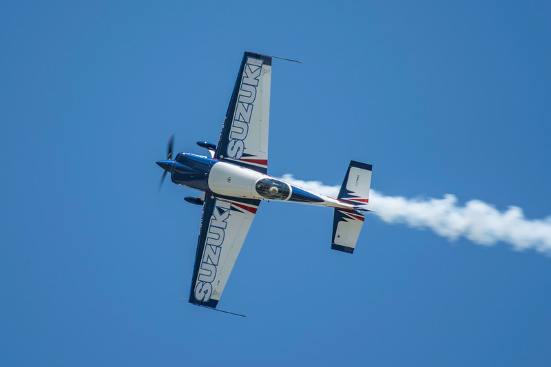 Bob Freeman, a veteran aerobatic pilot, setting up for an inverted pass at the 2017 Vectren Dayton Air Show.