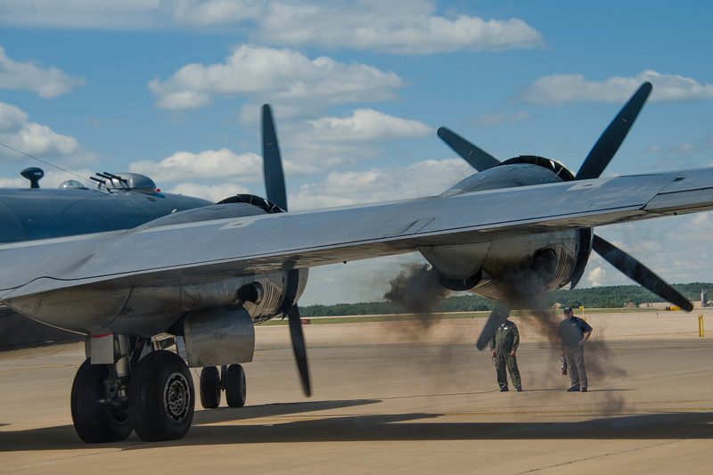 """The B-29 """"Fifi"""" fires its engines as it prepares for take off at the Rockford Air Show in Rockford, IL in June 2013."""