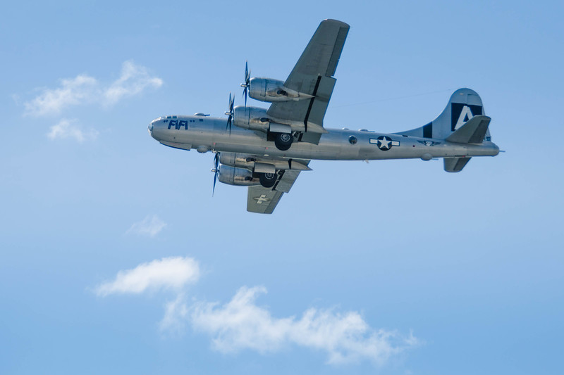 "B-29 ""Fifi"" in flight at the Rockford Air Show, in Rockford,IL in June 2013.<br /> <br /> Image 2 of 2"
