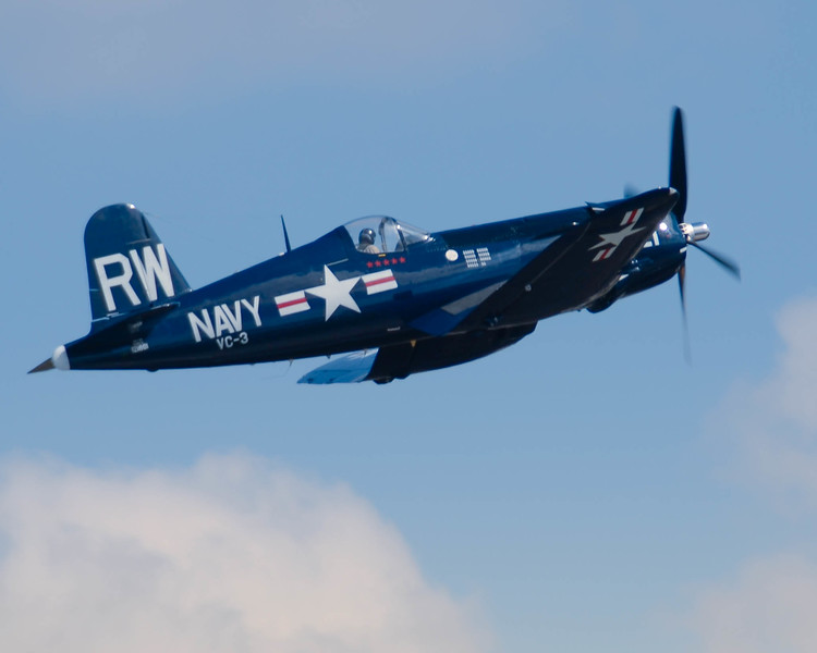 Grumman F4U -5 Corsair in flight at the 2013 Wings Over Houston Airshow, held on October 26-27, 2013.<br /> <br /> Image 2 of 2