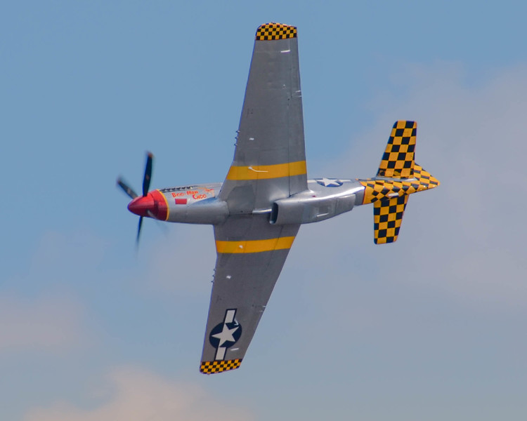 """P-51 D """"Boo Man Choo"""" performs for the crowd at the 2013 Wings Over Houston Airshow, on October 26-27, 2013."""