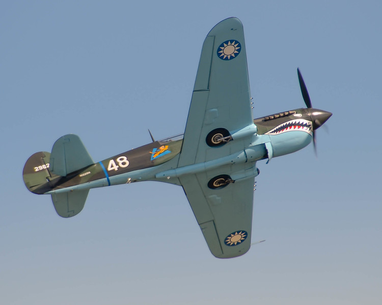 Curtiss P-40 Warhawk entertaining the crowd at the 2013 Wings Over Houston Airshow, held October 26-27, 2013.<br /> This image is sized at 2x3