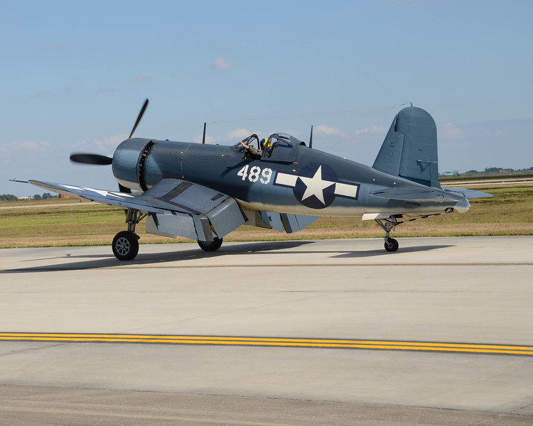 Grumman F4U Corsair taxis past the photographers stand at the 2013 Wings Over Houston Airshow, held on October 26-27, 2013.