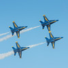 US Navy Blue Angels high speed bank and roll at the Wings Over Houston Air Show, November 2014.