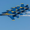 Echelon formation.  The US Navy Blue Angels perform at the Wings Over Houston Air Show, November 2014.<br /> Image 2 of 2.