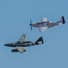 ME-262, the world's first jet aircraft shown flying together here for the first time ever, with the North American P-51 Mustang; at the Wings Over Houston Air Show, November 2014.