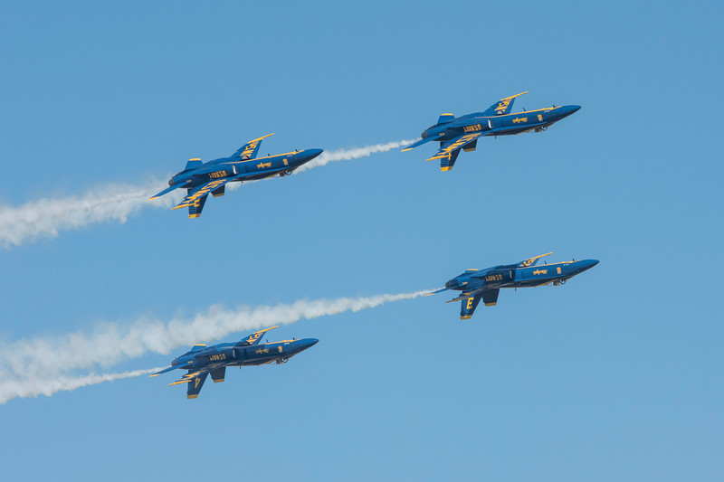 All Angels inverted.  US Navy Blue Angels 1, 2, 3, and 4 thrill the crowd with their inverted high speed pass, at the Wings Over Houston Air Show, November 2014.
