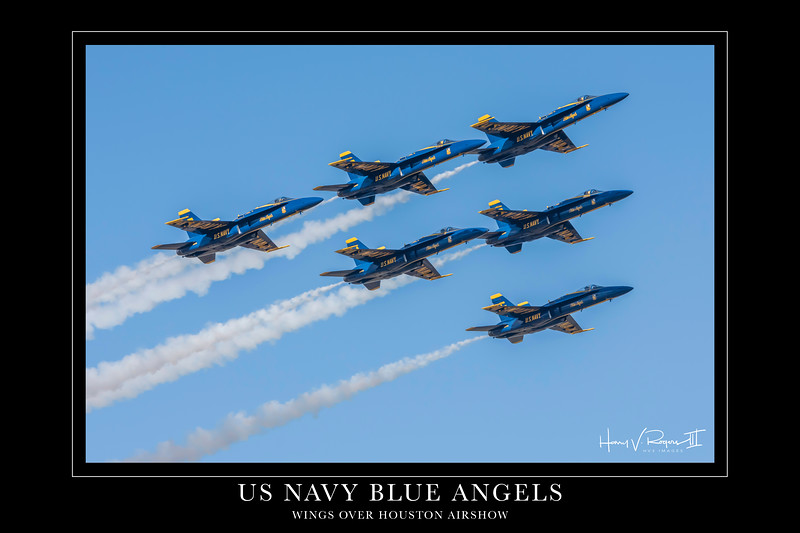 "The US Navy Blue Angels flight demonstration team closes out another awesome performance with the photo pass in review with ""smoke on"".  This image is sized at 20""x30'' and looks fantastic on any wall!"