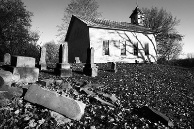 "Outskirts of Piketon, OH.  An abandoned church lends a ""spooky vibe"" when processed in black and white."