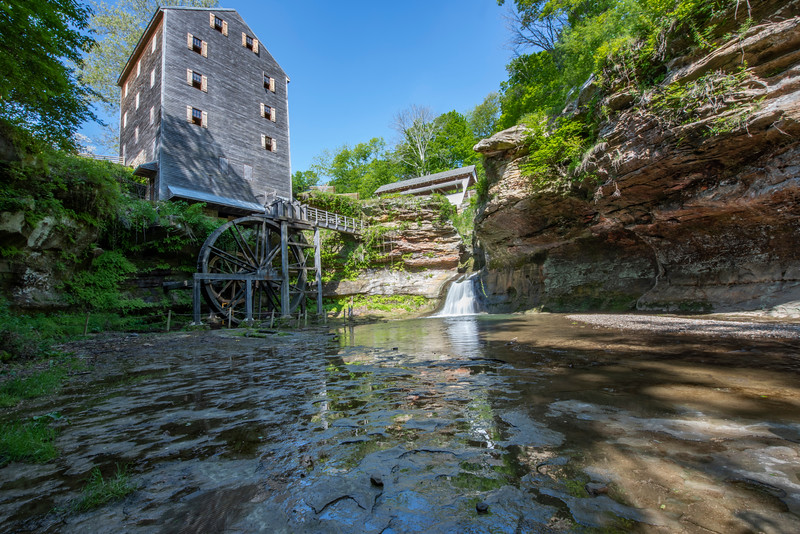 Lancaster, OH.  Stebelton Park at Rock Mill features the historic Rock Mill and iconic Rock Mill Covered Bridge.  Built in 1824, Rock Mill was one of a dozen grist mills in the area whose power source was the Hocking River.  The mill was grinding corn into wheat and meal as lates as 1905.