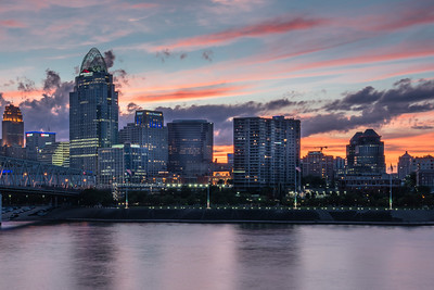 Cincinnati, OH.  Downtown basks in the glow of a beautiful sunset as witnessed from the Kentucky side of the Ohio River.  Cincinnati is the birthplace of William Howard Taft, the 27th President of the United States.