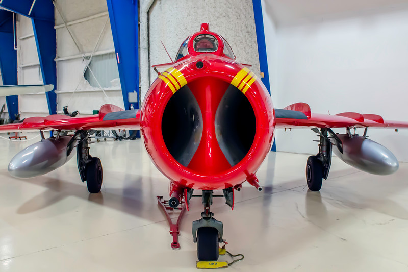 Migoyan MIG-17 jet fighter on display at the Lone Star Flight Museum at Galveston, TX