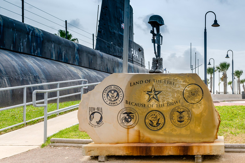 Monument to fallen soldiers at the at USS Cevalla (SS-244) at the Undersea Warfare Center  at Seawolf Park, Galveston, TX