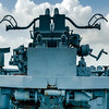 Aft anti- aircraft gun on board the destroyer escort USS Stewart (DE-238) at the Undersea Warfare Center at Seawolf park, Galveston, TX