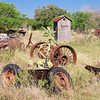 Wheels galore adorn this property discovered on a rural road while exploring the ghost town of Kingsbury, Texas