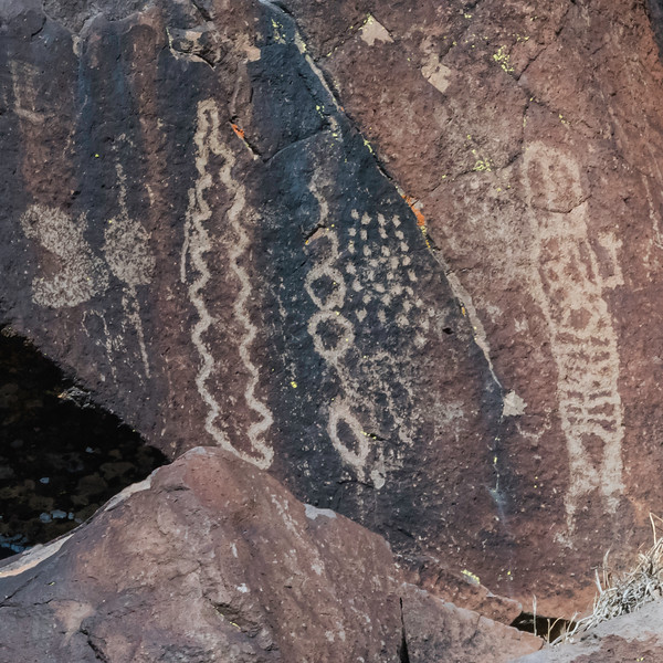 """On this panel, can be seen an array of """"dots"""".  Dot patterns are very typical entoptic designs.  """"Entoptic"""" refers to images that are derived within the eye or the brain.  They are expected to be in rock art depicting trance imagery."""
