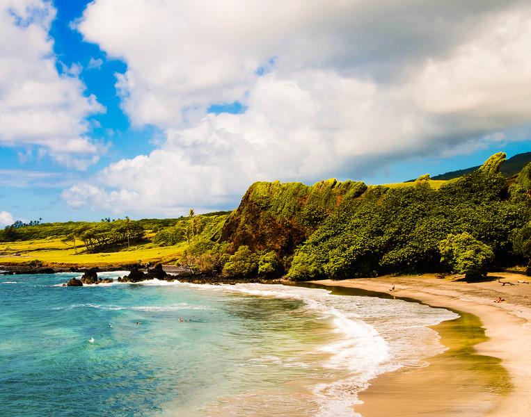 Beach scene near the Black Sand Beach, Maui; Hawaii.