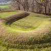 From Wikipedia:<br /> The Great Serpent Mound is a 1,348-foot (411 m)-long, three-foot-high prehistoric effigy mound on a plateau of the Serpent Mound crater along Ohio Brush Creek in Adams County, Ohio. Maintained within a park by the Ohio History Connection, it has been designated a National Historic Landmark by the United States Department of Interior. The Serpent Mound of Ohio was first reported from surveys by Ephraim Squire and Edwin Davis in their historic volume Ancient Monuments of the Mississippi Valley, published in 1848 by the newly founded Smithsonian Museum.<br /> <br /> Researchers have attributed construction of the mound to three different prehistoric indigenous cultures. Originally thought to be Adena in origin, a 1996 carbon dating study led scholars to believe the mound was built by members of the Fort Ancient culture around 1070 CE.  Most recent dating places the mound at around 300 BCE, once again suggesting Adena construction. Serpent Mound is the largest serpent effigy in the world.