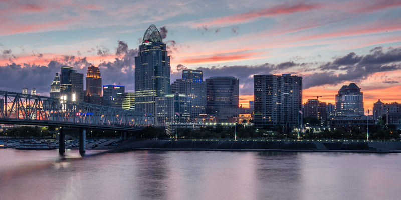 The Queen City, Cincinnati basks in the glow of a beautiful sunset as seen from the Kentucky side of the Ohio river.