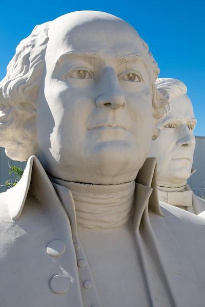 Busts of US presidents James Madison (foreground) and Andrew Johnson, at the David Adicke SculptrWorx Studio, Houston, Texas.