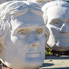 Busts of US presidents Thomas Jefferson (foreground) and George Washington (right), at the David Adicke SculptrWorx Studio, near the Galleria area in Houston, Texas.