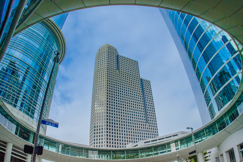 Looking upon from the walkway of the Chevron building in Houston, Texas