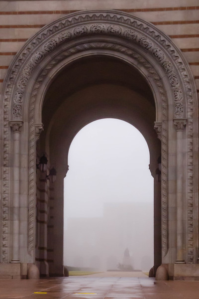 On the campus in the fog at Rice University in Houston, Texas