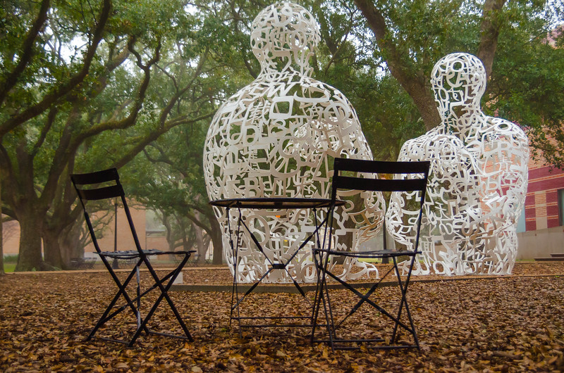 Iron sculptures and a place for an afternoon picnic at a park in Houston, Texas