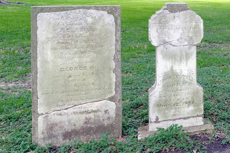 Old tombstones in the cemetery at the San Jacinto battlefield and national monument
