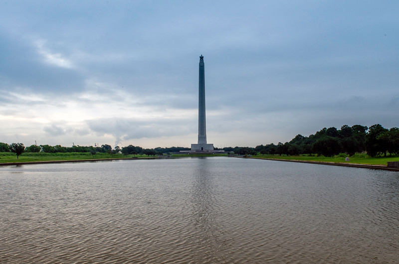The San Jacinto monument in the early morning hours