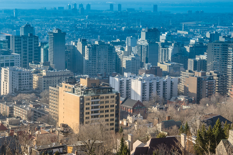 View of Montreal.  The USA is just beyond the skyscrapers in the distance