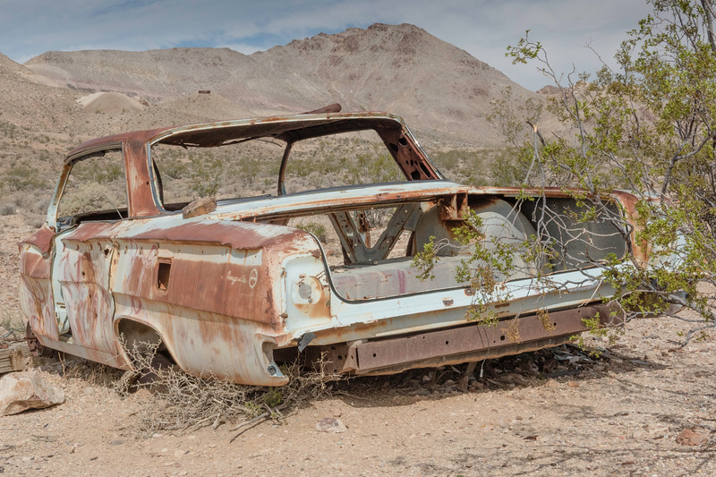 An abandoned car, Rhyolite ghost town near Death Valley National Park.