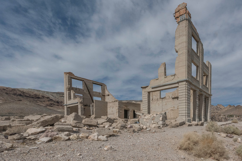 The old bank at Rhyolite ghost town near Death Valley National Park.