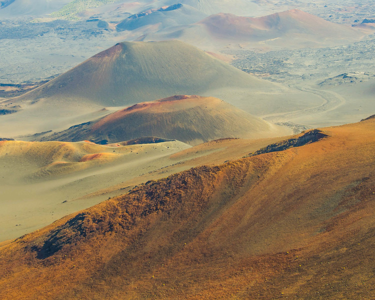 A view from the observation deck looking into the crater at Haleakala crater, Hawaii